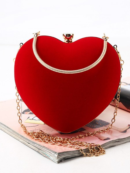 Lovely Velvet Heart-shaped Womens Evening/Party Handbags