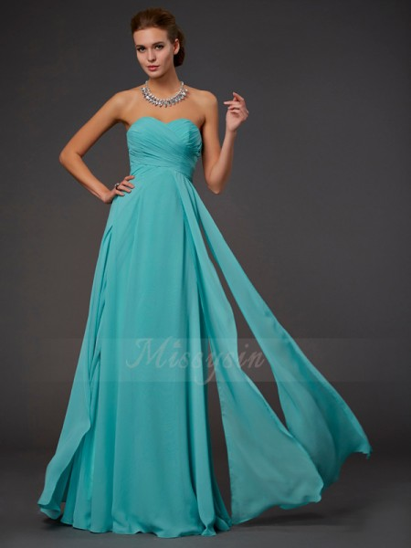 A-Line/Princess Chiffon Sweetheart Sleeveless Floor-Length Pleats Dress