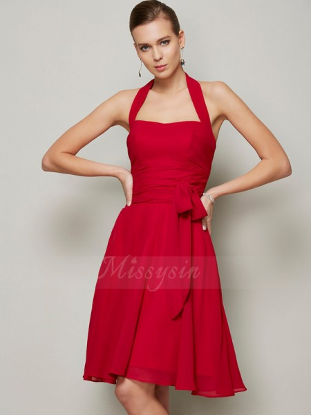 A-Line/Princess Halter Sleeveless Chiffon Knee-Length Pleats,Bowknot Dress