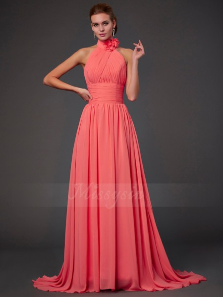 A-Line/Princess Halter Sleeveless Chiffon Sweep/Brush Train Hand-Made Flower Bridesmaid Dress