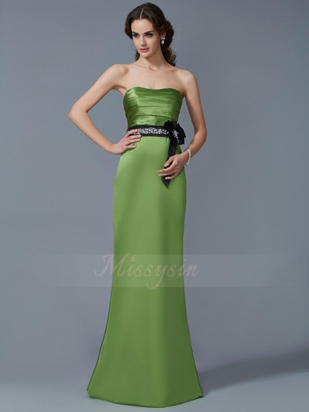 Sheath/Column Strapless Sleeveless Satin Floor-Length Sash/Ribbon/Belt Dress