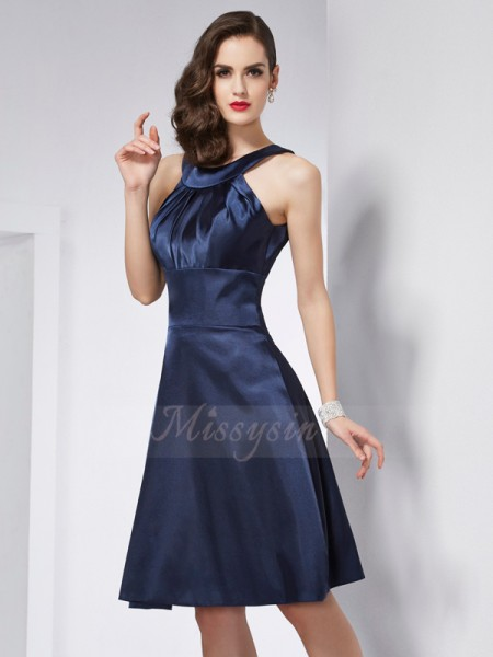 A-Line/Princess Scoop Sleeveless Elastic Woven Satin Knee-Length Pleats Dress