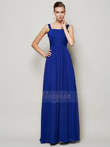 Sheath/Column Straps Sleeveless Chiffon Floor-Length Pleats Dress