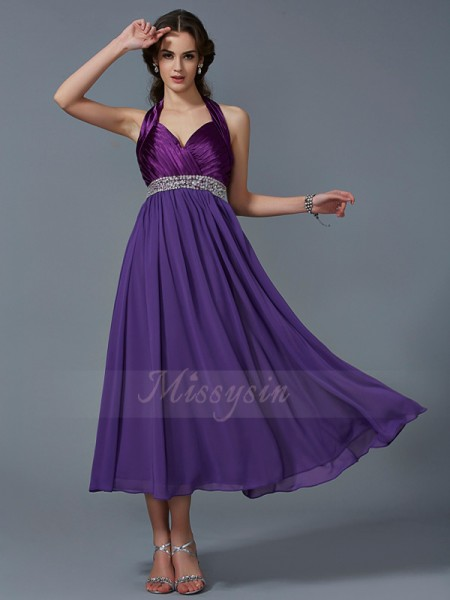A-Line/Princess Halter Sleeveless Chiffon Ankle-Length Beading Dress