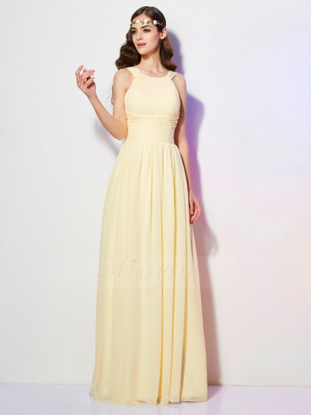 A-Line/Princess Bateau Sleeveless Chiffon Floor-Length Pleats Dress