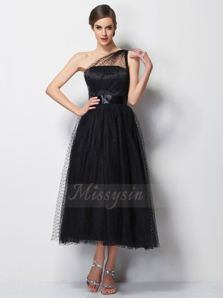 A-Line/Princess One-Shoulder Sleeveless Elastic Woven Satin,Net Tea-Length Pleats Bridesmaid Dress