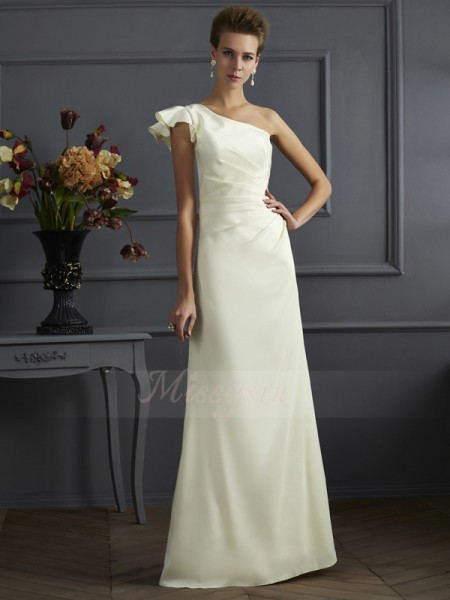 Sheath/Column One-Shoulder Sleeveless Elastic Woven Satin Floor-Length Pleats Bridesmaid Dress