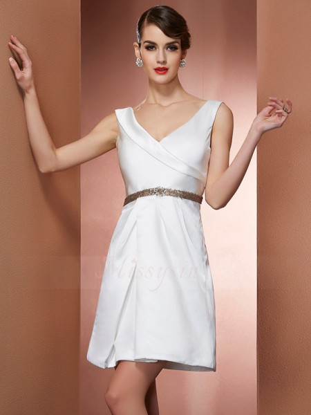 A-Line/Princess Straps Sleeveless Satin Short/Mini Beading Dress