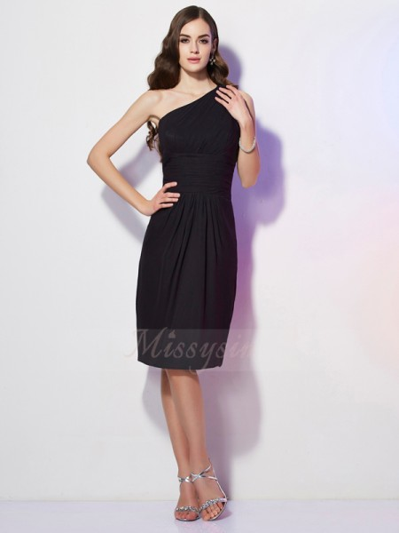 Sheath/Column One-Shoulder Sleeveless Chiffon Knee-Length Beading Dress