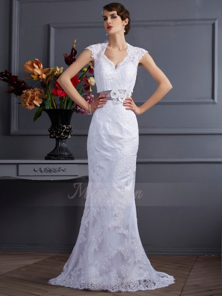 Trumpet/Mermaid Sleeveless Satin Sweep/Brush Train Applique,Lace Wedding Dress