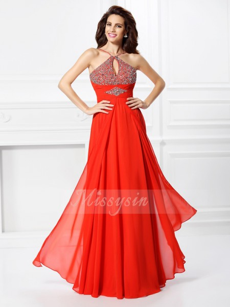 A-Line/Princess Chiffon Floor-Length Beading Sleeveless Dress