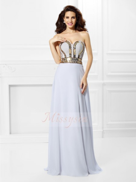 Empire Sweetheart Chiffon Floor-Length Pleats Sleeveless Dress