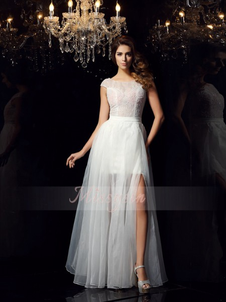 A-Line/Princess Scoop Tulle Floor-Length Beading Short Sleeves Dress