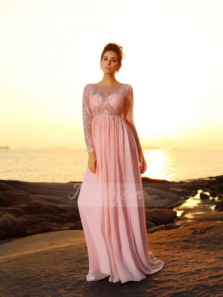 A-Line/Princess Bateau Chiffon Sweep/Brush Train Beading Long Sleeves Dress