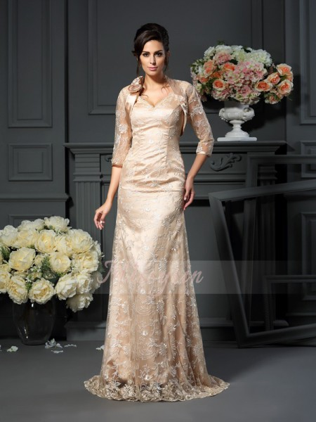 A-Line/Princess V-neck Elastic Woven Satin Floor-Length Lace Sleeveless Mother Of The Bride Dresses