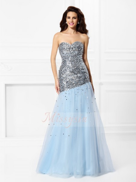 Trumpet/Mermaid Sweetheart Satin Floor-Length Sequin Sleeveless Dress