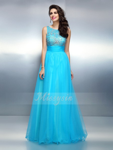 A-Line/Princess Bateau Elastic Woven Satin Floor-Length Beading Sleeveless Dress
