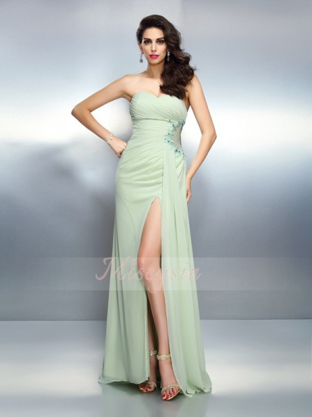 A-Line/Princess Sweetheart Chiffon Floor-Length Pleats Sleeveless Dress