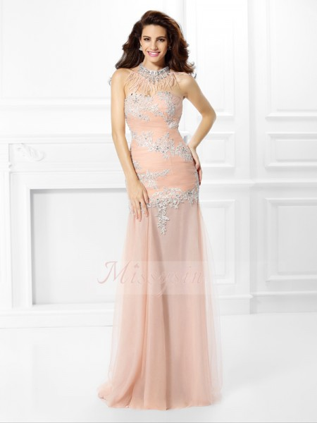 Trumpet/Mermaid Sweetheart Chiffon Floor-Length Applique,Lace Sleeveless Dress