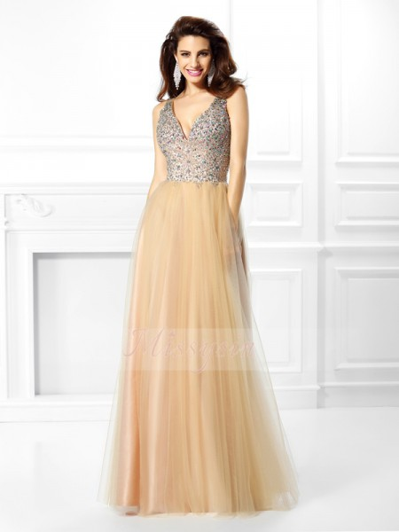 Ball Gown V-neck Satin Floor-Length Beading,Sequin Sleeveless Dress