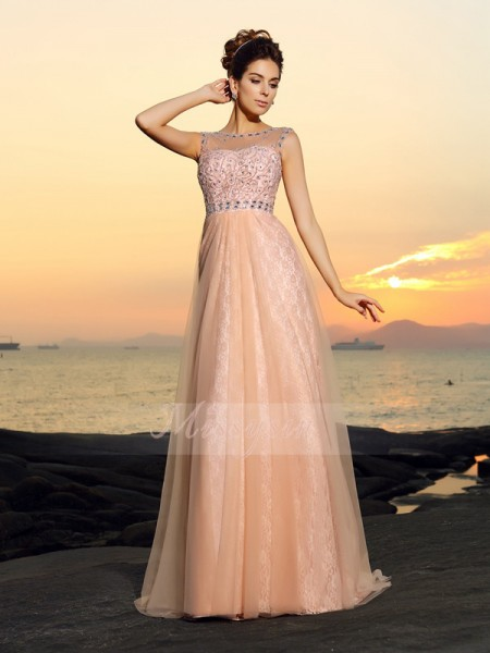 A-Line/Princess Bateau Chiffon Floor-Length Lace Sleeveless Dress