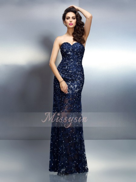 Trumpet/Mermaid Sweetheart Elastic Woven Satin Floor-Length Beading Sleeveless Dress