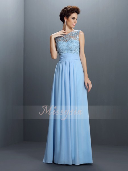 A-Line/Princess Bateau Chiffon Floor-Length Applique Sleeveless Dress