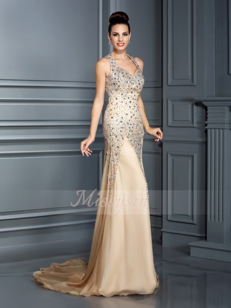 A-Line/Princess Straps Chiffon Court Train Beading Sleeveless Dress