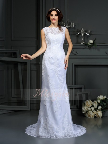 Sheath/Column High Neck Lace Court Train Lace Sleeveless Wedding Dress