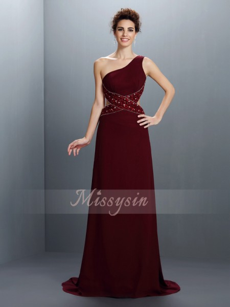 A-Line/Princess One-Shoulder Chiffon Sweep/Brush Train Beading Sleeveless Dress