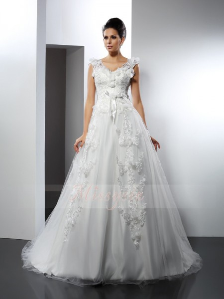 A-Line/Princess Straps Satin Cathedral Train Lace Sleeveless Wedding Dress