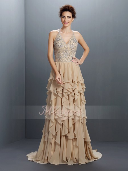 A-Line/Princess V-neck Chiffon Sweep/Brush Train Beading Sleeveless Dress