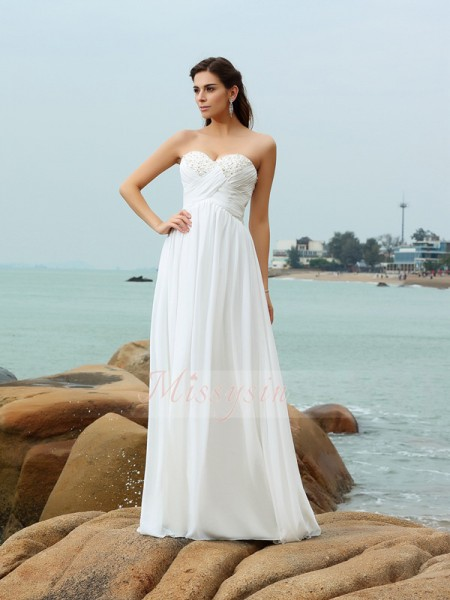 A-Line/Princess Sweetheart Chiffon Sweep/Brush Train Beading Sleeveless Wedding Dress