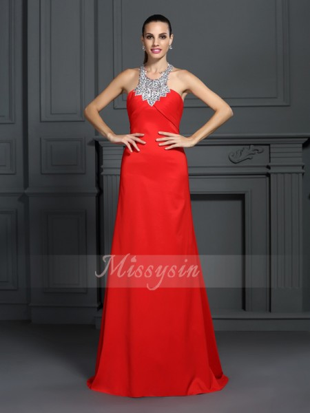 A-Line/Princess High Neck Elastic Woven Satin Sweep/Brush Train Beading Sleeveless Dress