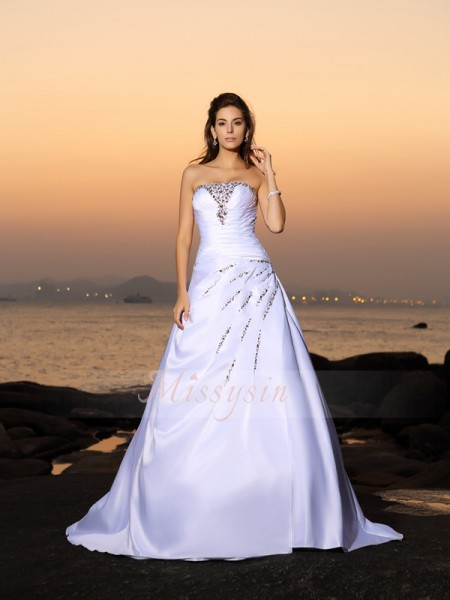 A-Line/Princess Strapless Satin Chapel Train Beading Sleeveless Wedding Dress