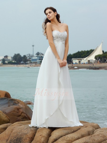 A-Line/Princess Sweetheart Chiffon Floor-Length Beading Sleeveless Wedding Dress