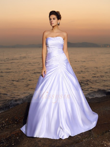 Ball Gown Strapless Satin Court Train Beading,Applique Sleeveless Wedding Dress