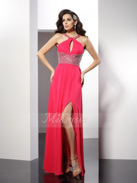 A-Line/Princess Scoop Chiffon Floor-Length Beading Sleeveless Dress