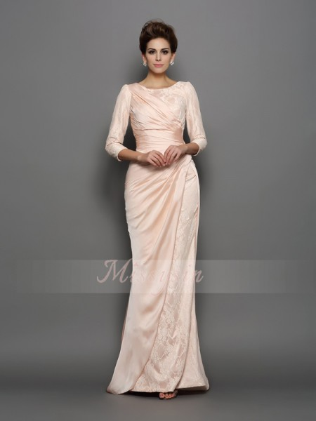 Trumpet/Mermaid Bateau Chiffon Sweep/Brush Train Lace 3/4 Sleeves Mother Of The Bride Dresses