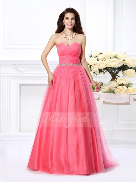 Ball Gown Sweetheart Satin Floor-Length Pleats,Beading Sleeveless Dress