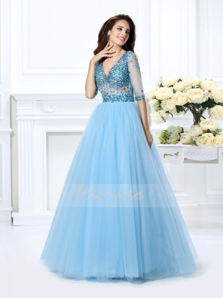 Ball Gown V-neck Satin Floor-Length Beading 1/2 Sleeves Dress