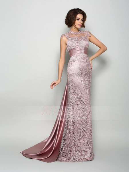 A-Line/Princess High Neck Elastic Woven Satin Court Train Sleeveless Mother Of The Bride Dresses