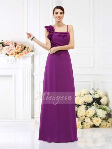 Sheath/Column Spaghetti Straps Chiffon Floor-Length Hand-Made Flower Sleeveless Bridesmaid Dress