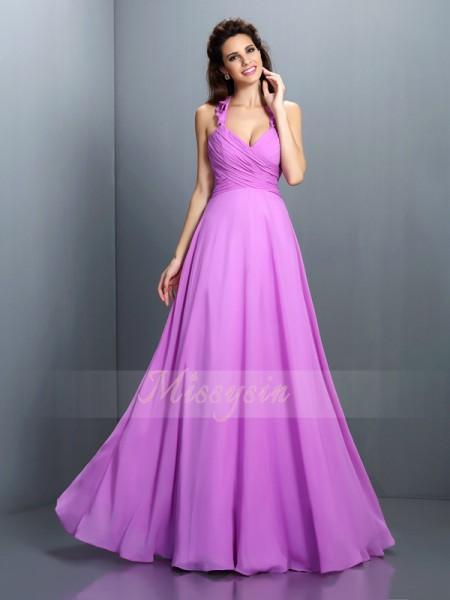 A-Line/Princess Halter Chiffon Floor-Length Pleats Sleeveless Bridesmaid Dress