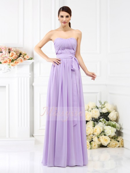A-Line/Princess Strapless Chiffon Floor-Length Sash/Ribbon/Belt Sleeveless Bridesmaid Dress