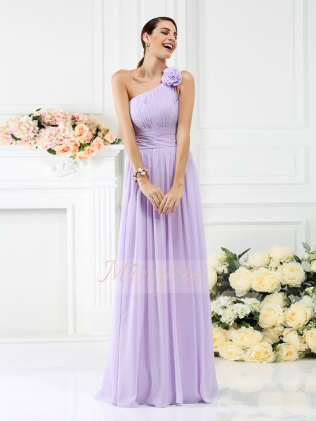 A-Line/Princess One-Shoulder Chiffon Floor-Length Pleats,Hand-Made Flower Sleeveless Bridesmaid Dress