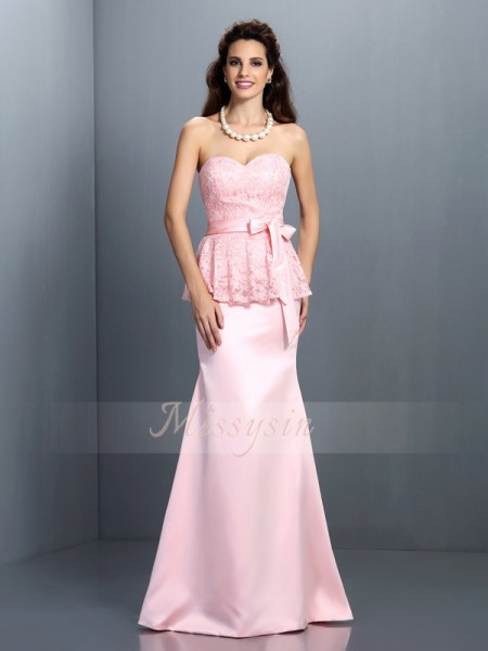 Trumpet/Mermaid Sweetheart Satin Floor-Length Lace Sleeveless Bridesmaid Dress