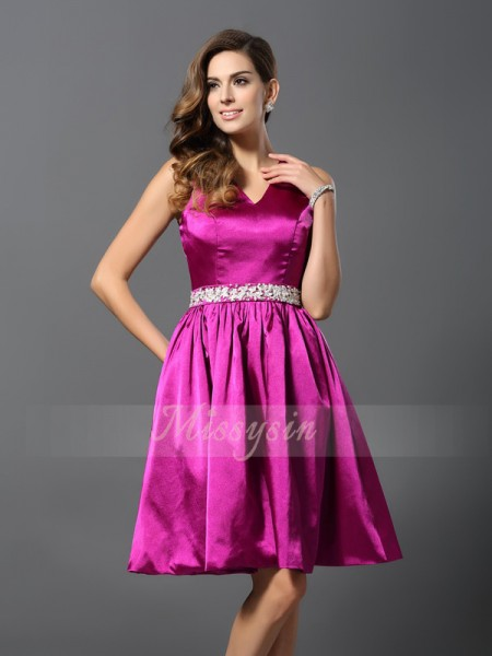 A-Line/Princess Straps Elastic Woven Satin Knee-Length Beading Sleeveless Bridesmaid Dress