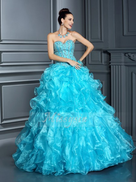 Ball Gown Sweetheart Organza Floor-Length Beading Sleeveless Dress