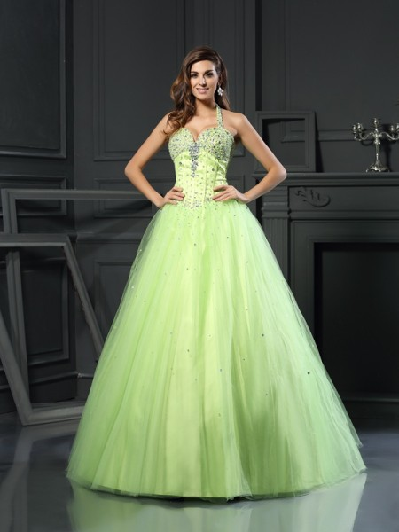 Ball Gown Halter Satin Floor-Length Beading Sleeveless Dress
